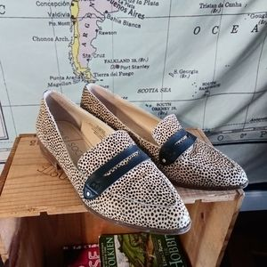 Sole Society Pointed Cheetah Loafers Cow Flats